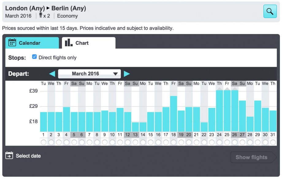 Search for a flight by month