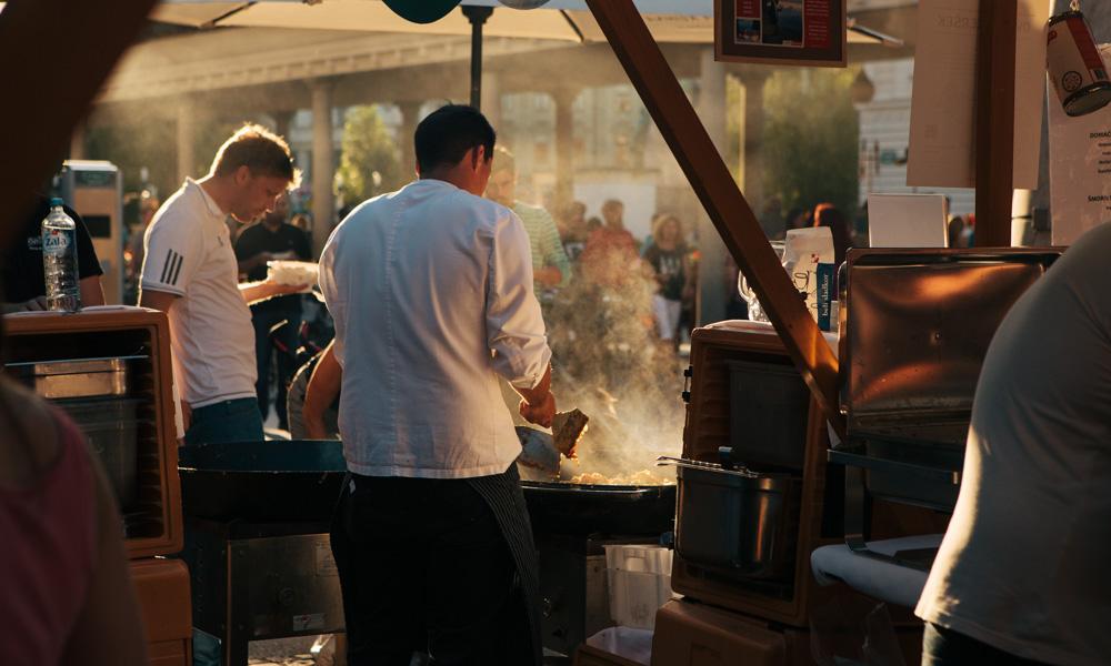 Vegetarian food at Open Kitchen market, Ljubljana