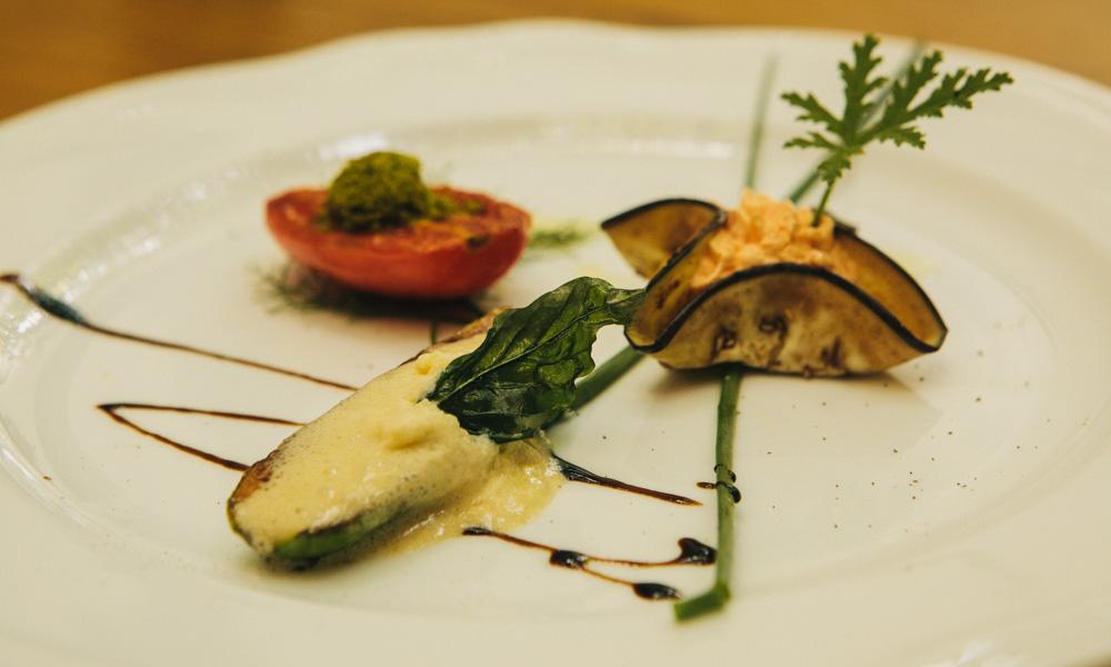 Vegetarian meal at Majerija, Slovenia