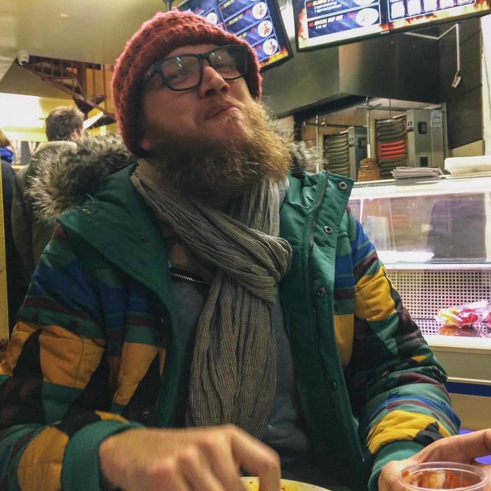 Steve eating in Copenhagen