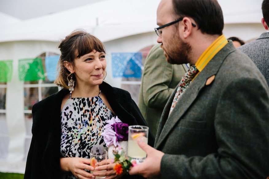 Cocktail reception at woodland festival wedding in Cornwall