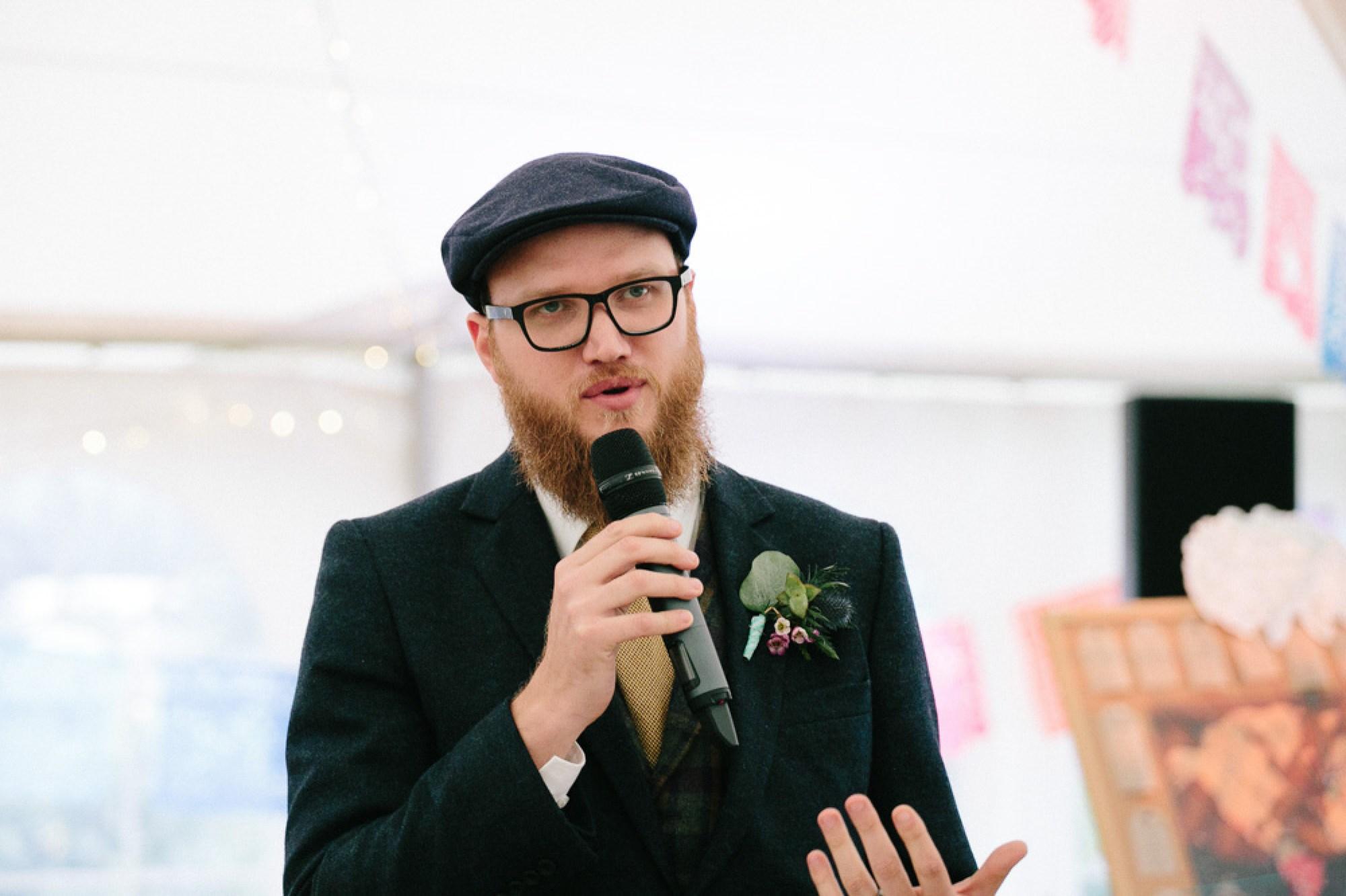Wedding speeches at Cornwall festival wedding