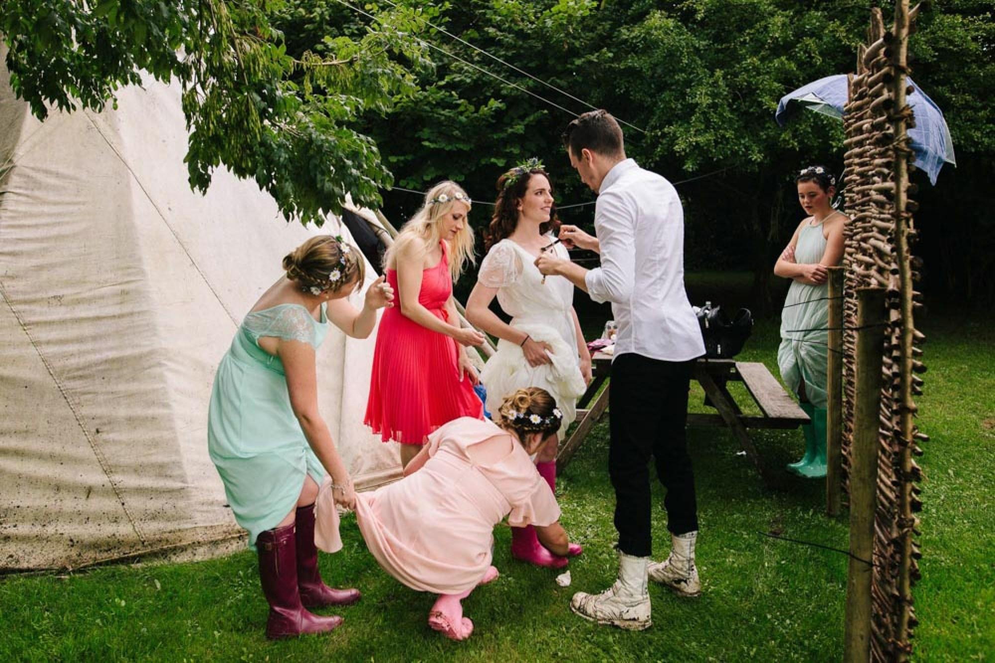 Getting ready for a festival wedding in Cornwall