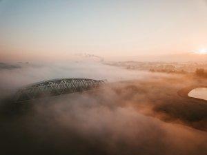 bridge, fog, mist