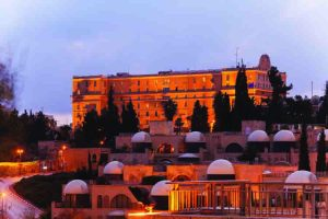 Night View of Jerusalem Streets with King David Hotel Building