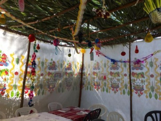 Image result for image inside a sukkah with lights