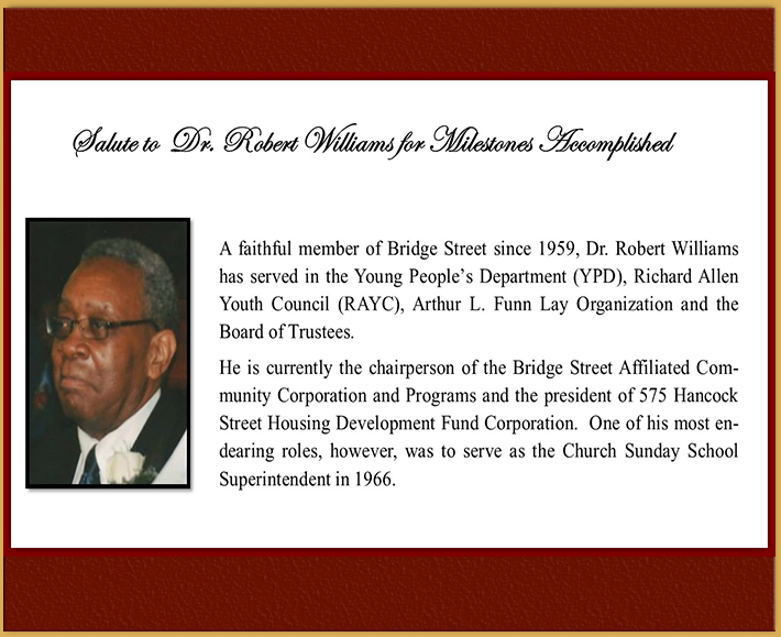 Members Milestones - Robert Williams
