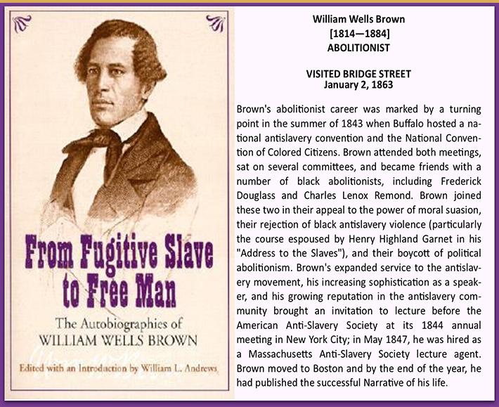 William Wells Brown Visits Bridgestreet