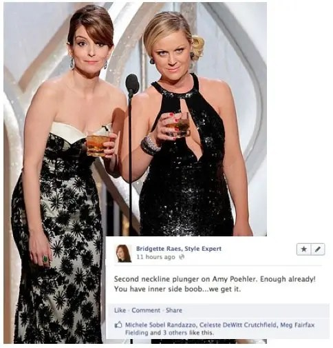 Amy Poehler Plunging Neckline 2013 Golden Globes Fashion