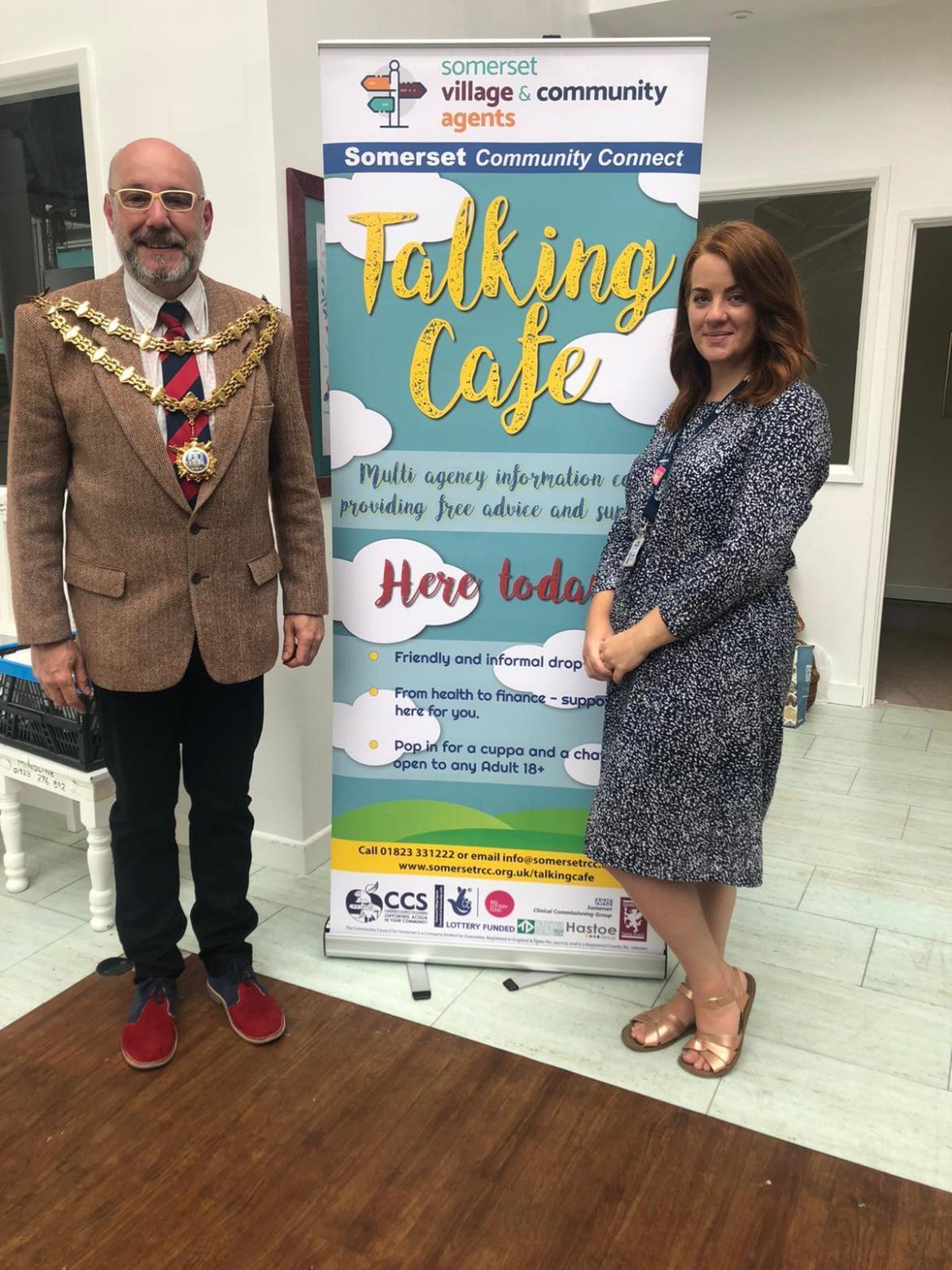 Bridgwater Mercury: TALKING CAFE OPENS: Mayor Leigh Redman with Lauren Giddins, the team leader for Sedgemoor Village agents