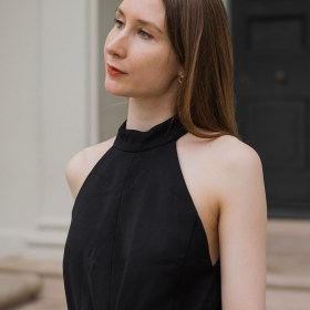Clothes as self care, minimalist outfit inspiration and girl wearing a black jumpsuit, simple outfit ideas