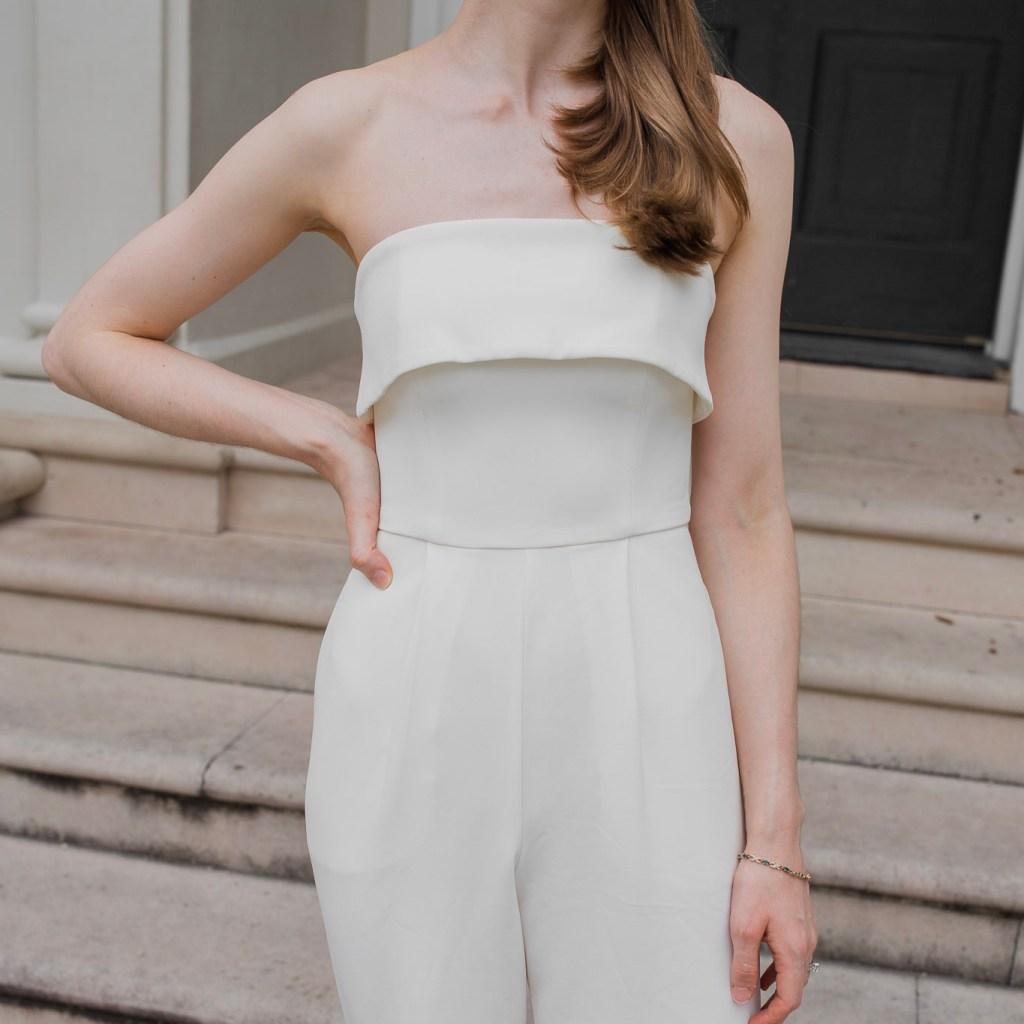 A white jumpsuit, outfit details, minimalist wedding ideas, minimalist engagement inspiration,