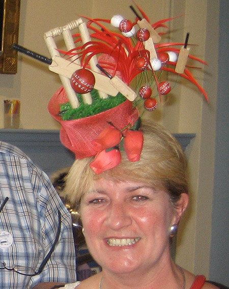 Milliners & Hatters Open Competition 3rd prize winner 'The Ashes 2013' hat, worn by its creator Alison Nicholls