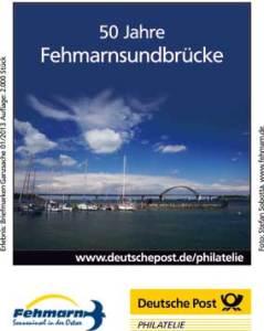 """Zudruck der deutschen Ganzsache anlässlich """"50 Jahre Fehmarnsundbrücke""""."""