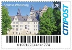 Briefmarke der Citipost mit dem Schloss Wolfsburg.