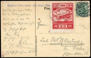 Ansichts-Postkarte mit Flugmarke 10, gestempelt am 11. September 1913, und Germania-Frankatur mit amtlicher Entwertung vom 18. September.