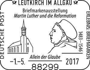 Sonderstempel Briefmarkenausstellung Luther Leutkirch 1. Mai 2017
