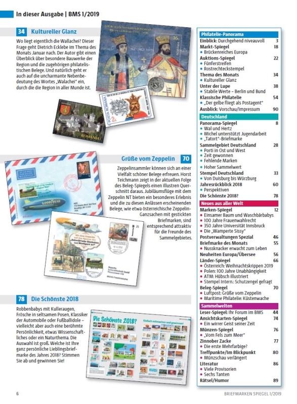 Briefmarken Spiegel Wallachei Zeppelin Januar 2019 Inhalt