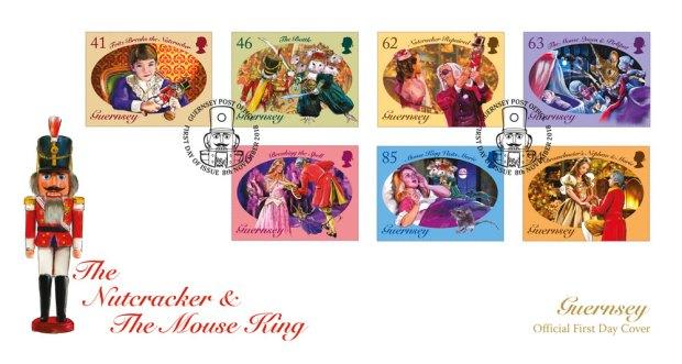 Ersttagsbrief zum Märchen vom Nussknacker und Mäusekönig. Ausgegeben von der Guernsey Post am 8. November 2018