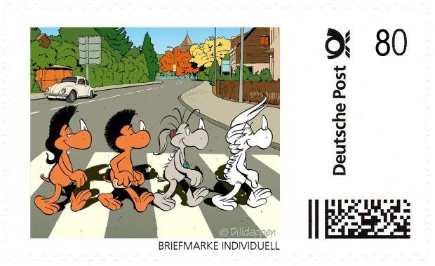 Briefmarke Individuell mit den Dilldappen-Beatles