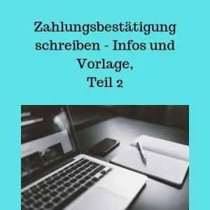 Zahlungsbestätigung schreiben - Infos und Vorlage, Teil 2