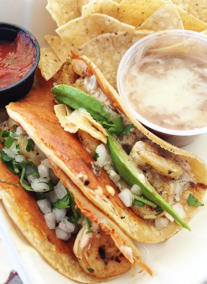grourmet shrimp tacos from Rubio's