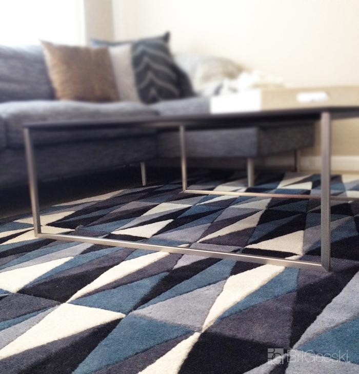 Blue, grey and cream rug