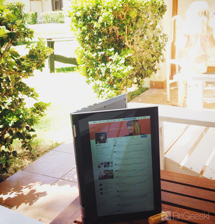 palm springs with a tablet