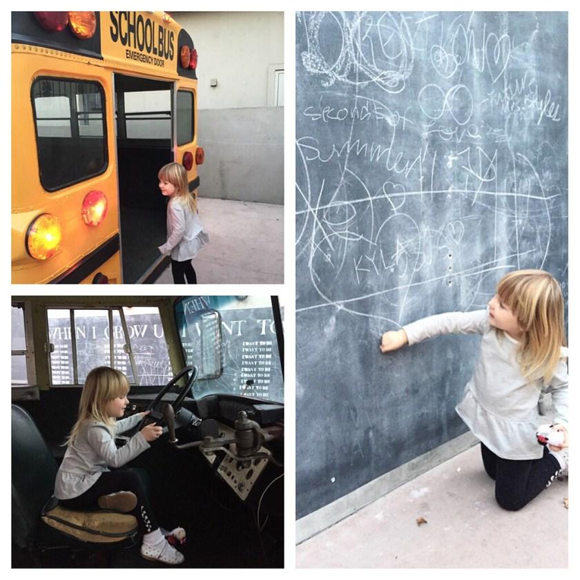bus and chalkboard wall at bo beau kitchen