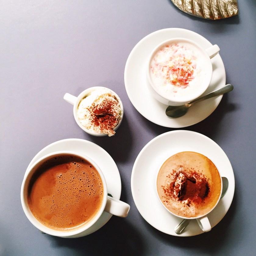 dark hot chocolate, pink hot chocolate and mocha