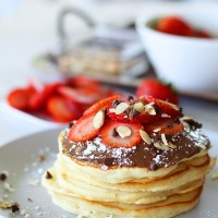 Fluffy Strawberry And Nutella Pancakes