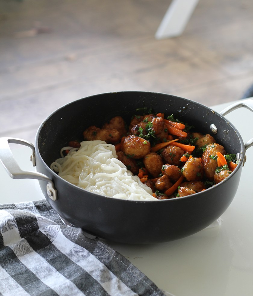 Easy Orange Chicken with Rice Noodles