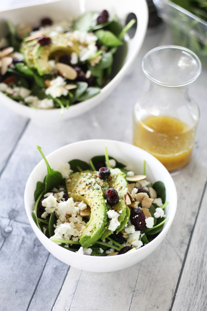 Spinach Salad with Avocado, Cranberry, Goat Cheese, Almonds and Orange Honey Mustard Vinaigrette