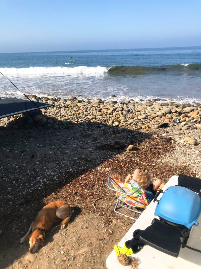 Camping at the beach in Ventura