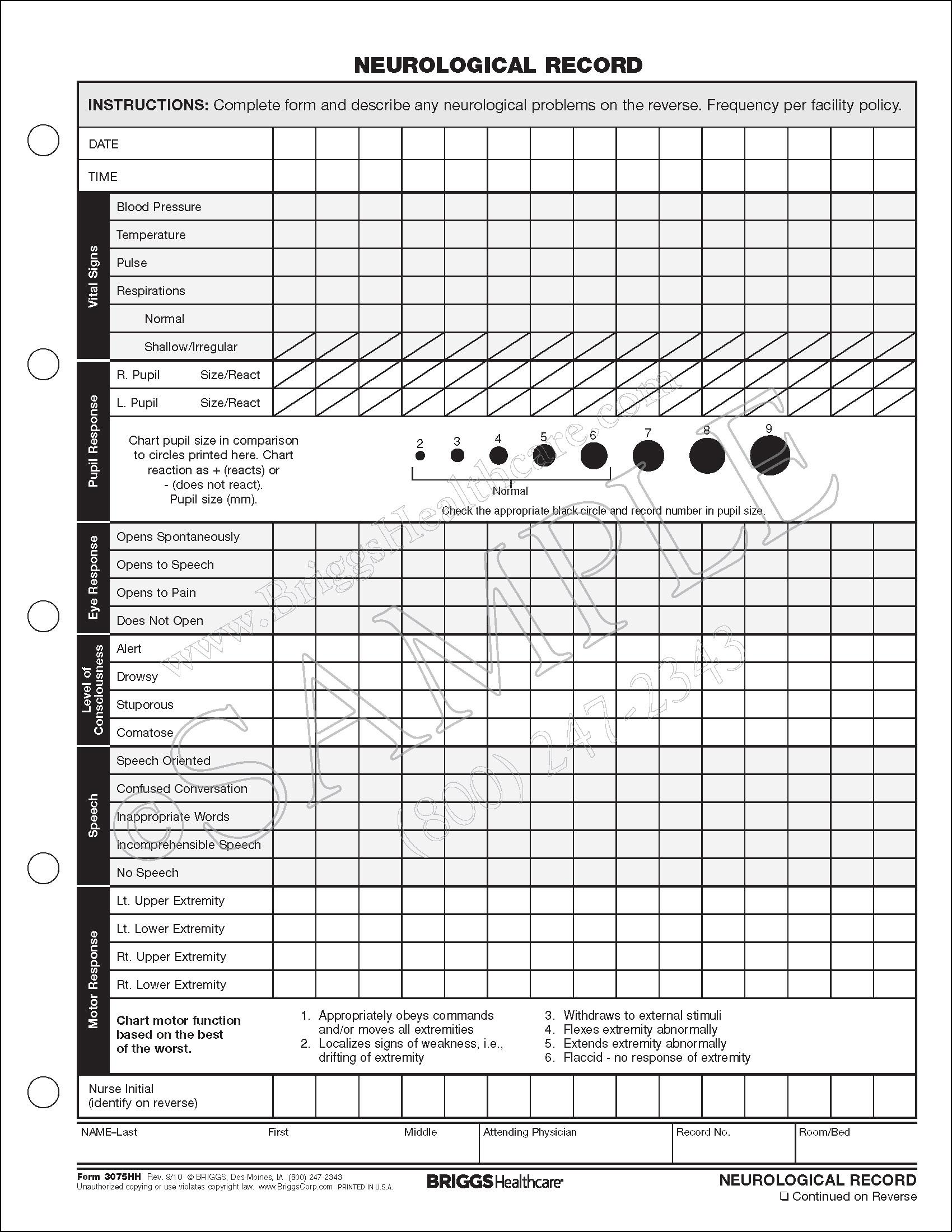 Neuro Vital Signs Sheet