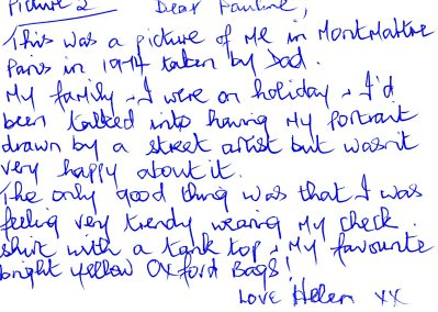 Helen's postcard about her holiday in 1974
