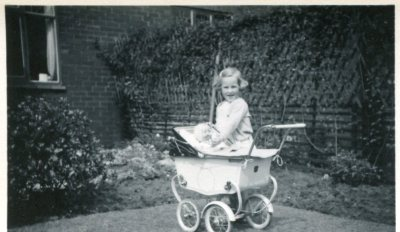 Margaret in the 1950s with her pram