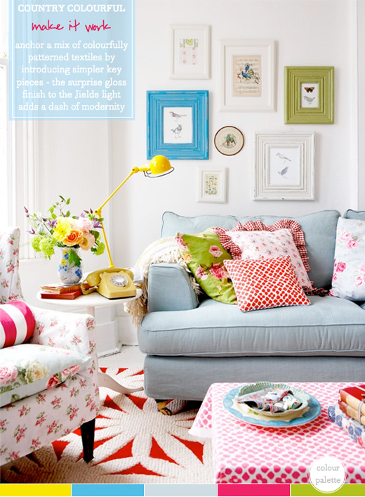 Colour Palette: A Colourful Country Living Room - Bright ... on Colourful Living Room  id=68472