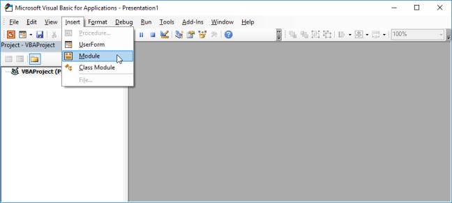 Modul Memasukkan VBE PowerPoint
