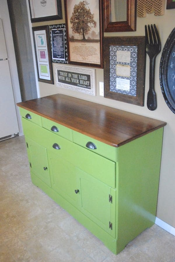 Spray Painted Diy Refinished Green Buffet