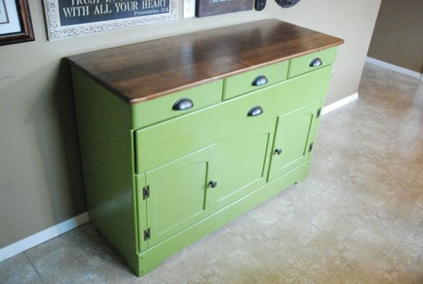 Diy Refinished And Painted Cabinet Reviews: Spray Painted DIY Refinished Green Buffet