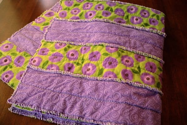 Baby Quilt with Flannel Fringe Ruffles