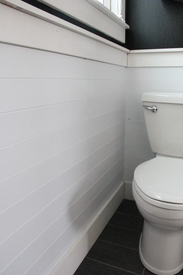 White Horizonal Planked Walls in Bathroom