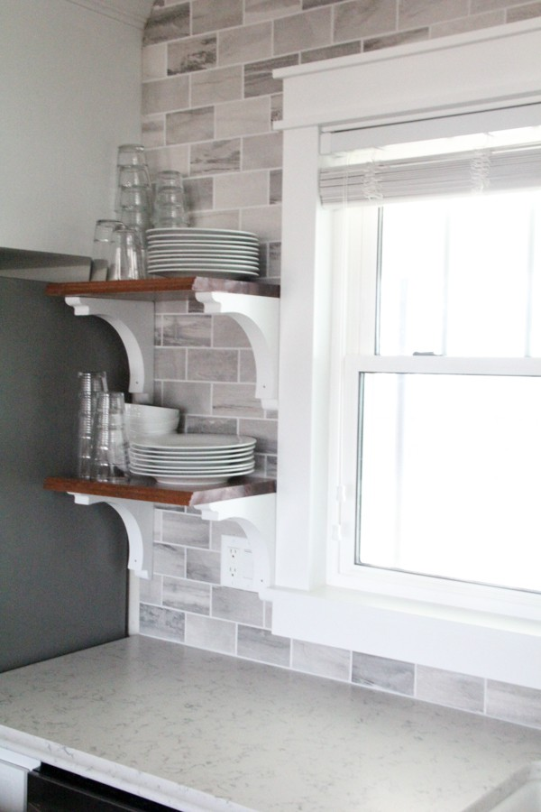 Natural Wood Kitchen Open Shelving