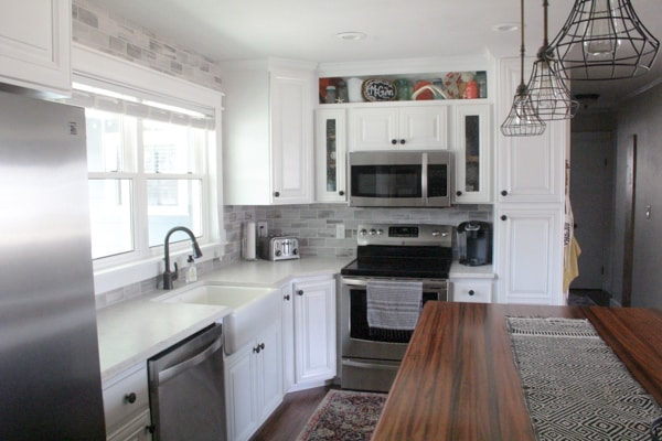 Modern Kitchen with Wood, Dark, White, and Tile