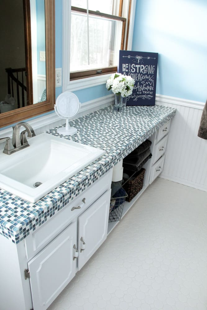 how to paint tile countertops and our modern bathroom. Black Bedroom Furniture Sets. Home Design Ideas