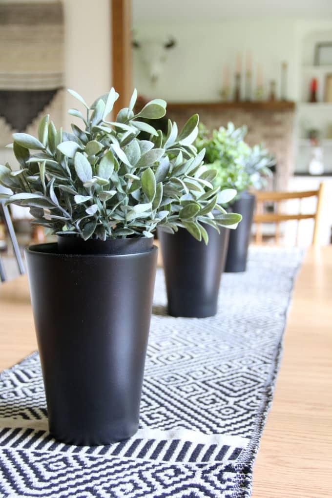 Ikea Black Pots with Faux Plants