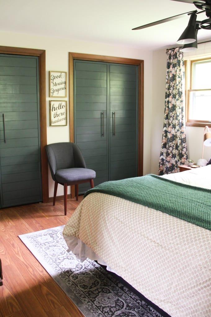 Green Faux Shiplap French Doors
