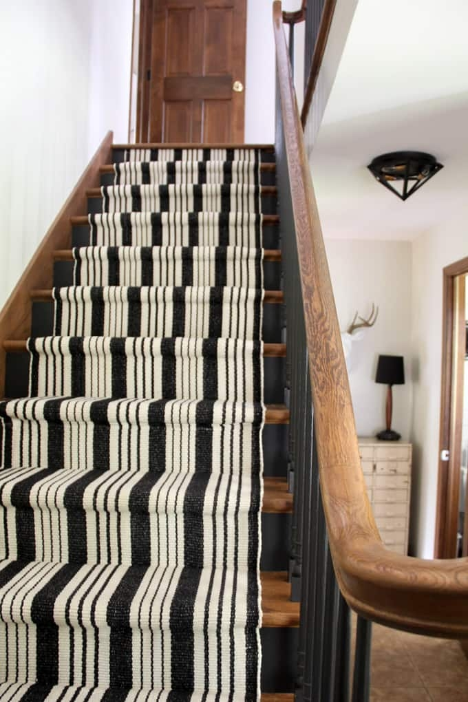 Our Black Painted Staircase Bright Green Door | Black And White Stair Carpet | Entry Hall | Square Pattern | Luxurious | American Style | Small Space