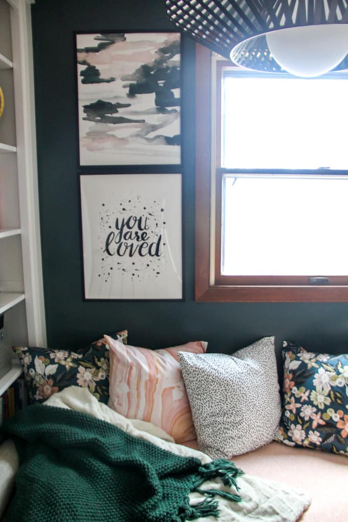Green Wall in Modern Reading Nook